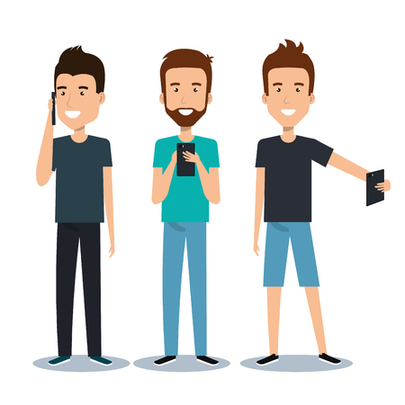group of different young using mobile phones socializing on internet vector illustration Stock Illustratie