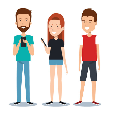socializando: group of different young using mobile phones socializing on internet vector illustration Vectores