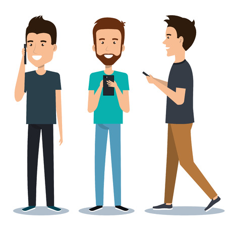 group of different young using mobile phones socializing on internet vector illustration