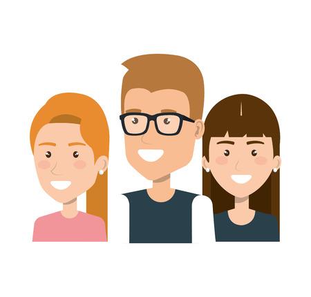 group people young portrait together friends vector illustration Illustration
