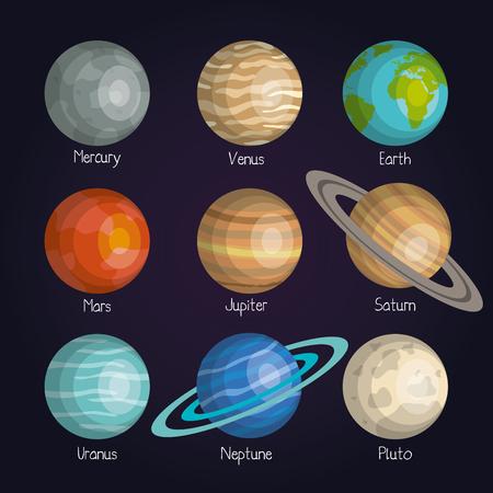Los planetas del sistema solar espacio astrología ilustración vectorial Foto de archivo - 83870477