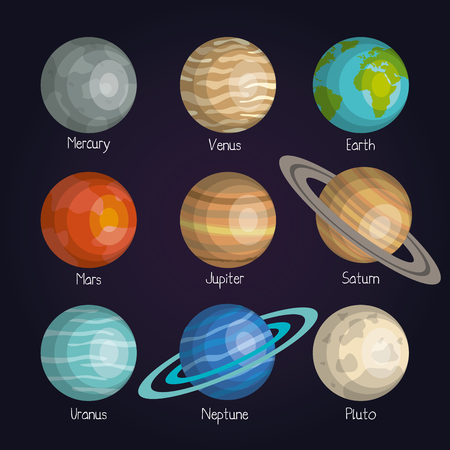 the planets of the solar system space astrology vector illustration