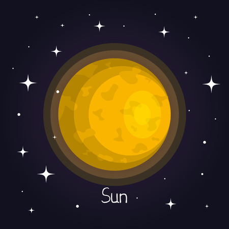 공간에서 태양 태양계 스타 배경 벡터 일러스트 레이 션의 요소