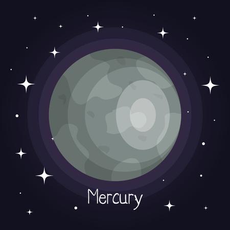 만 반짝 이는 만화 스타일 벡터 일러스트와 함께 공간에서 수은 행성