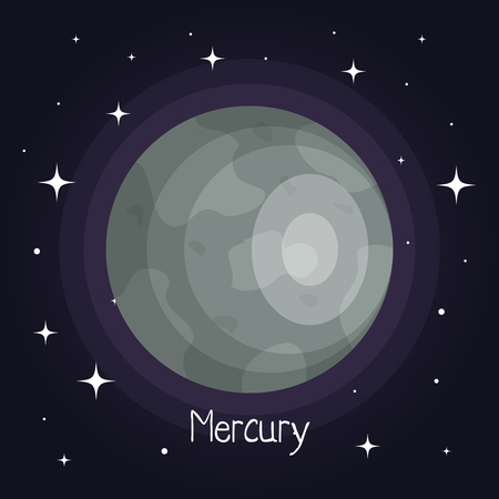 mercury planet in space with stars shiny cartoon style vector illustration Stock fotó - 83870482