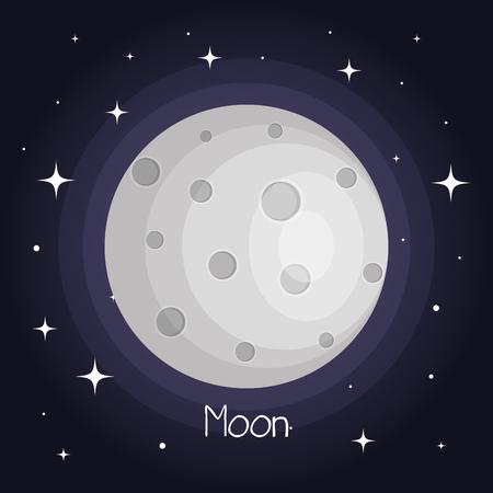 La lune avec des étoiles spatiaux avec des cratères dans l & # 39 ; univers illustration vectorielle Banque d'images - 83870483