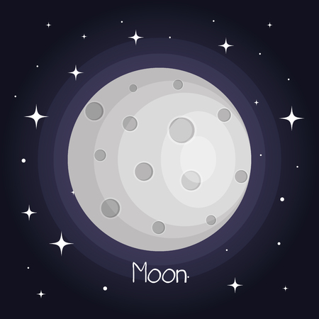 the moon with stars space with craters in the universe vector illustration