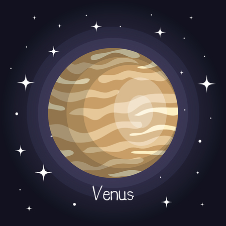 venus planet in space with stars shiny cartoon style vector illustration