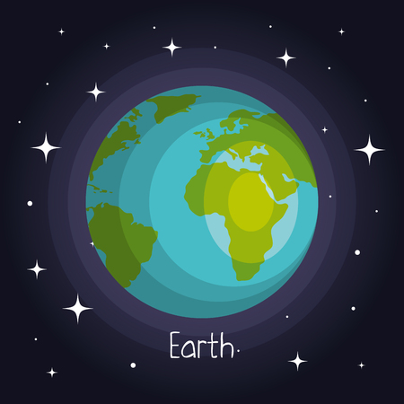 earth planet in space with stars shiny cartoon style vector illustration Illustration