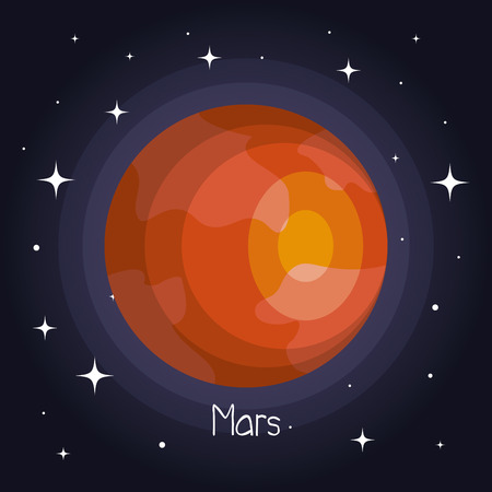 mars planet in space with stars shiny cartoon style vector illustration