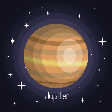 jupiter planet in space with stars shiny cartoon style vector illustration Çizim