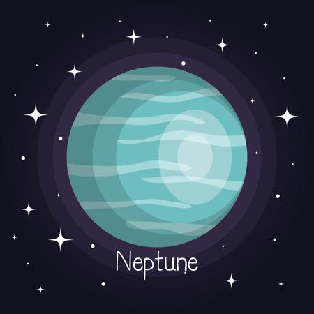 neptune planet in space with stars shiny cartoon style vector illustration Ilustrace
