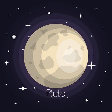 별과 반짝이 만화 스타일 벡터 일러스트와 함께 공간에서 명왕성 행성