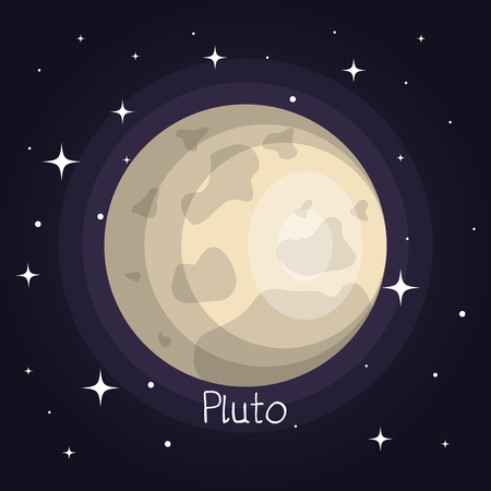 pluto planet in space with stars shiny cartoon style vector illustration