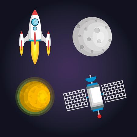 만화 벡터 그림 공간입니다. 달, 행성, 로켓, 지구, 우주 비행사, 혜성, 우주 분류 유백색 손으로 그린 만화 코스모스 일러스트