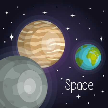 Space planets cosmos galaxy stars design vector illustration