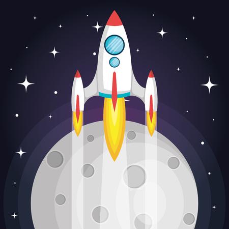 月と星のベクトル図と宇宙を飛んでいる宇宙ロケット  イラスト・ベクター素材