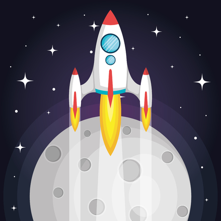 space rocket flying in space with moon and stars vector illustration