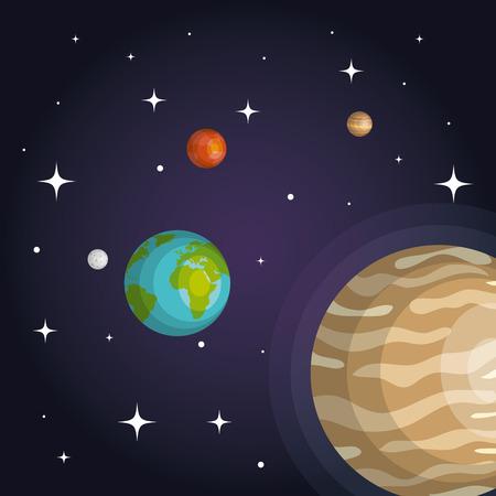 Die Planeten des Sonnensystems Raum Astrologie Vektor-Illustration