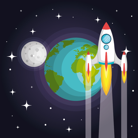 Rocket spaceship planet earth to the moon vector illustration Çizim