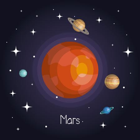 별 반짝이 만화 스타일 벡터 일러스트와 함께 공간에서 행성 일러스트