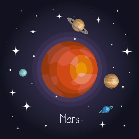 planet in space with stars shiny cartoon style vector illustration Illustration