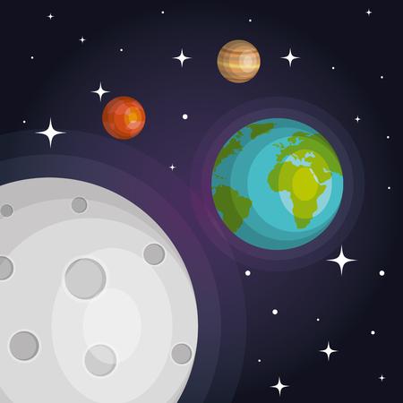 Los planetas del sistema solar espacio astrología ilustración vectorial Foto de archivo - 83876802