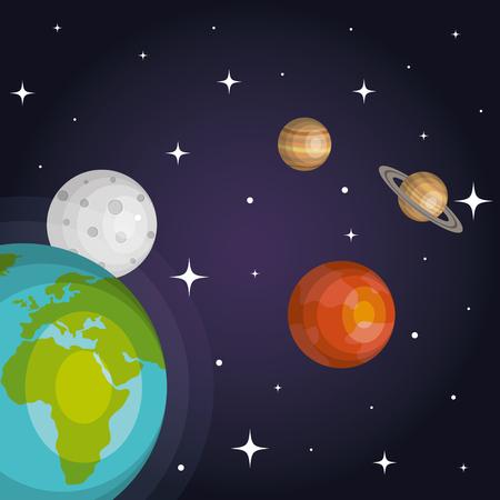 Os planetas do sistema solar, espaço, astrologia, ilustração vetorial Foto de archivo - 83870511