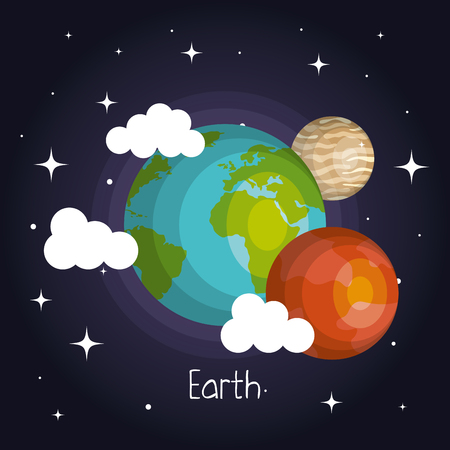 Space planets mars and earth moon galaxy element vector illustration
