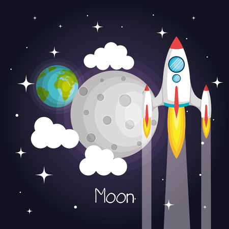 Space rocket flying in space with moon earth and stars clouds vector illustration