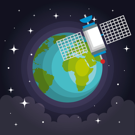 Artificial satellite orbit on planet earth vector illustration