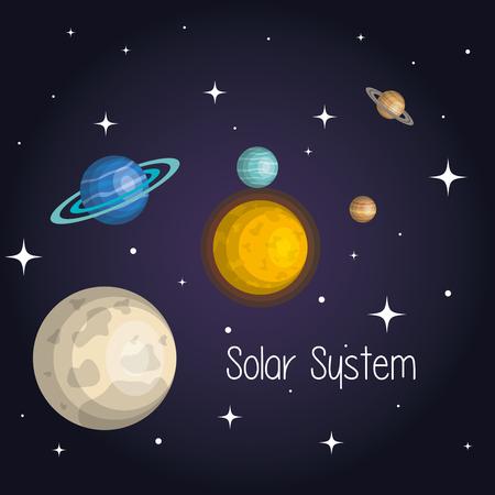 Los planetas del sistema solar espacio astrología ilustración vectorial Foto de archivo - 83876814