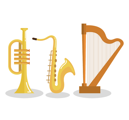 set of musical instruments event symbols vector illustration Illustration
