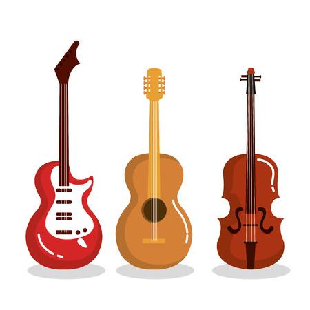 music instruments guitars violin acoustic vector illustration Иллюстрация