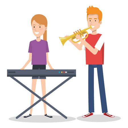 couple musicians playing musical instruments vector illustration