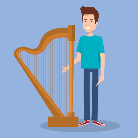 arpa: joven parado con la ilustración de vector de instrumento de música de arpa