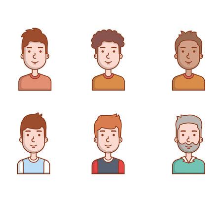 People young men portrait male avatar set vector illustration