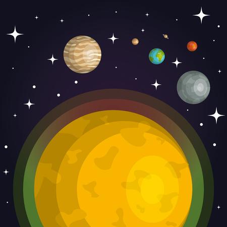 Los planetas del sistema solar espacio astrología ilustración vectorial Foto de archivo - 83870531