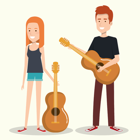 Couple musicians playing musical instruments vector illustration Zdjęcie Seryjne - 83876842