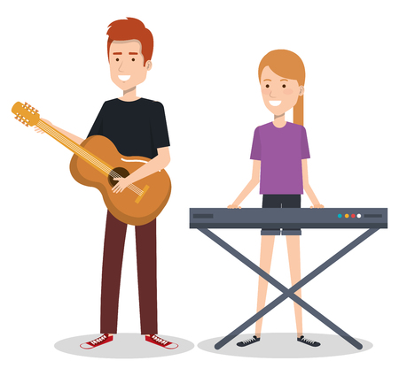 Couple musicians playing musical instruments vector illustration Illustration