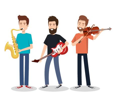 Musicians and musical instruments concert entertainment vector illustration Çizim