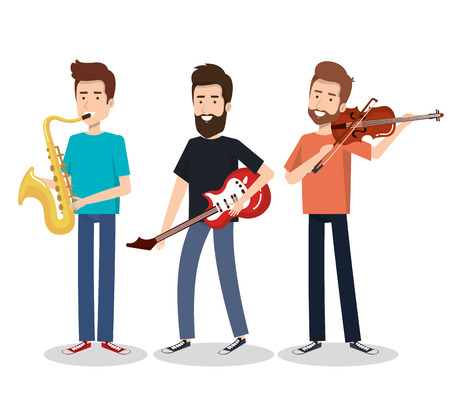 Musicians and musical instruments concert entertainment vector illustration Illustration