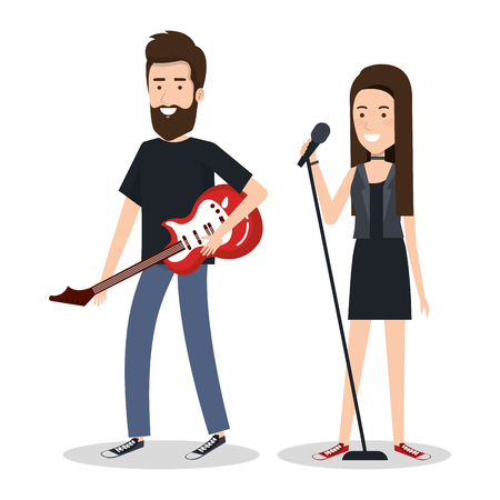 若い女性歌手と男性ギター プレーヤー ベクトル イラスト  イラスト・ベクター素材