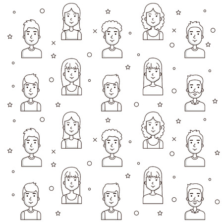 seamless pattern of young people faces outline vector illustration