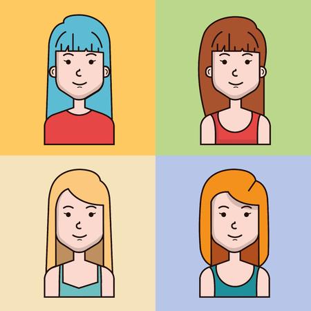 avatar mensen vrouwelijke groep profiel vrouw vectorillustratie