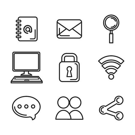 social media network communication outline icons vector illustration Ilustração