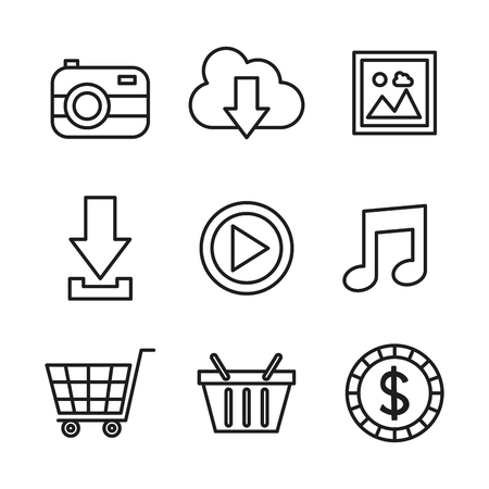 social media network communication outline icons vector illustration Illustration