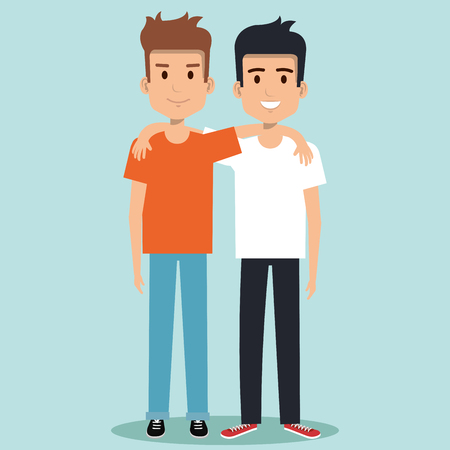 two boys hugging best friends happy smiling vector illustration Ilustração