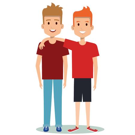 two boys hugging best friends happy smiling vector illustration 일러스트