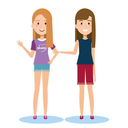 Best Friends - Illustration Featuring Two Girls Holding Hands While Walking Ilustração